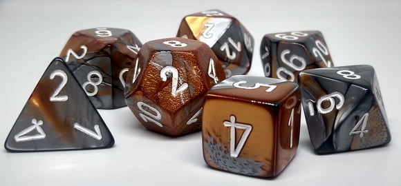 Chessex 26424 Gemini: Copper-Steel/White - Polyhedral (7 Dice)
