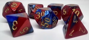 Chessex 26429 Gemini: Blue-Red/Gold - Polyhedral (7 Dice)