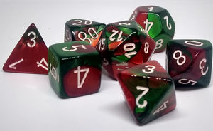 Chessex 26431 Gemini: Green-Red/White - Polyhedral (7 Dice)