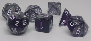 Chessex 26432 Gemini: Purple-Steel/White - Polyhedral (7 Dice)