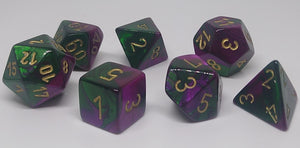 Chessex 26434 Gemini: Green-Purple/Gold - Polyhedral (7 Dice)