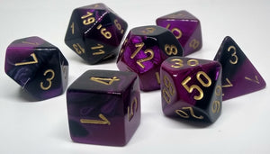 Chessex 26440 Gemini: Black-Purple/Gold - Polyhedral (7 Dice)