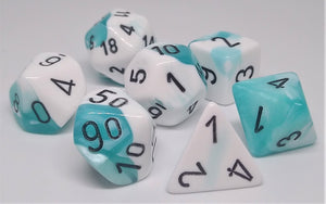 Chessex 26444 Gemini: Teal-White/Black - Polyhedral (7 Dice)