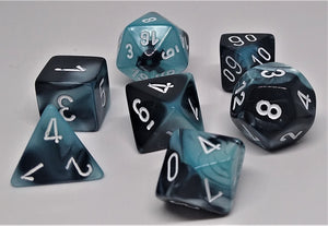 Chessex 26446 Gemini: Black-Shell/White - Polyhedral (7 Dice)
