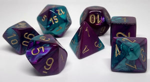 Chessex 26449 Gemini: Purple-Teal/Gold - Polyhedral (7 Dice)