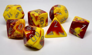 Chessex 26450 Gemini: Red-Yellow/Silver - Polyhedral (7 Dice)