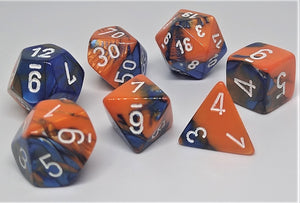 Chessex 26452 Gemini: Blue-Orange/White - Polyhedral (7 Dice)