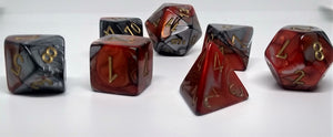 Chessex 26461 Gemini: Orange-Steel/Gold - Polyhedral (7 Dice)