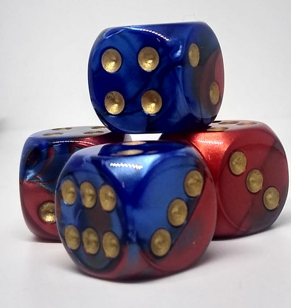 Chessex 26629 Gemini: Blue-Red/Gold - 16mm D6 (12 Dice)