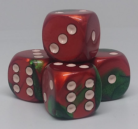 Chessex 26631 Gemini: Green-Red/White - 16mm D6 (12 Dice)