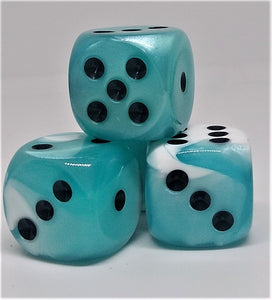 Chessex 26644 Gemini: Teal-White/Black- 16mm D6 (12 Dice)
