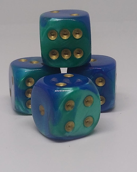 Chessex 26659 Gemini: Blue-Teal/Gold - 16mm D6 (12 Dice)