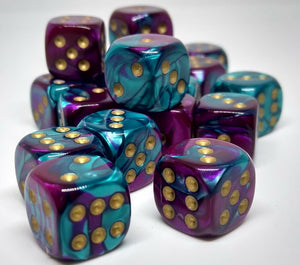 Chessex 26849 Gemini: Purple-Teal/Gold - 12mm D6 (36 Dice)