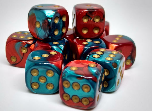 Chessex 26862 Gemini: Red-Teal/Gold - 12mm D6 (36 Dice)