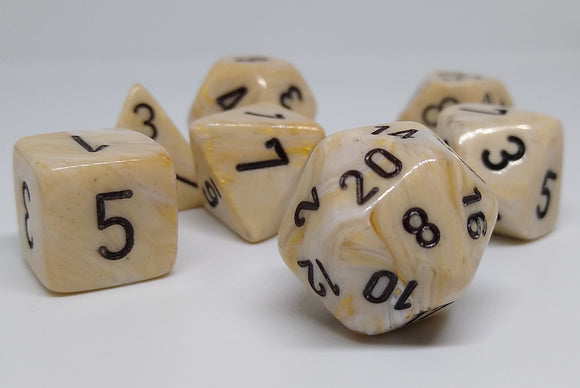 Chessex 27402 Marble: Ivory/Black - Polyhedral (7 Dice)
