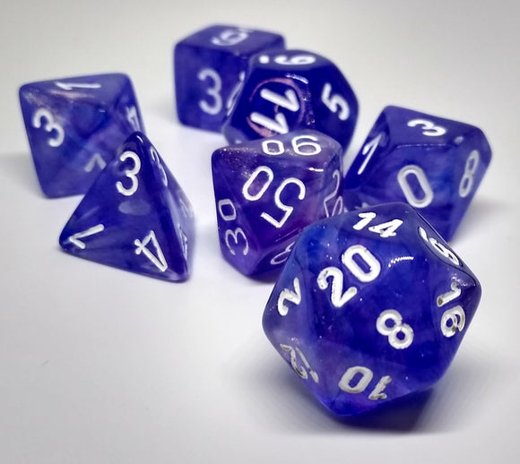 Chessex 27407 Borealis: Purple/White - Polyhedral (7 Dice)