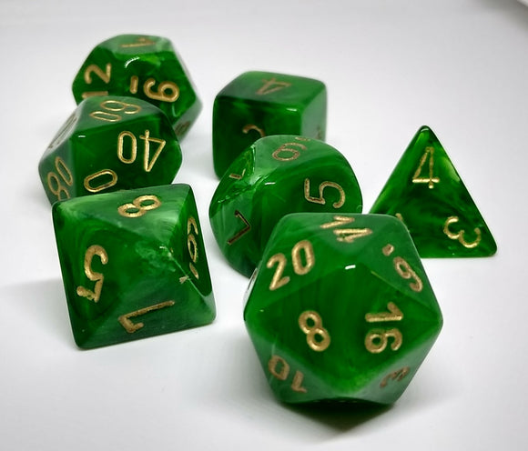 Chessex 27435 Vortex: Green/Gold - Polyhedral (7 Dice)