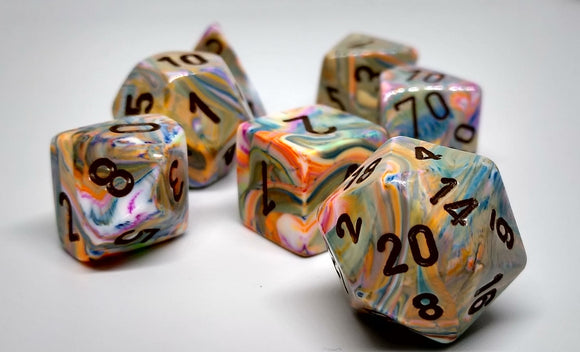 Chessex 27441 Festive: Vibrant/Brown - Polyhedral (7 Dice)