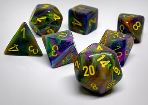 Chessex 27449 Festive: Rio/Yellow - Polyhedral (7 Dice)