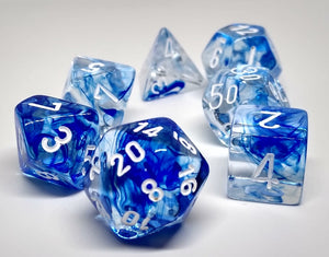 Chessex 27466 Nebula: Dark Blue/White - Polyhedral (7 Dice)