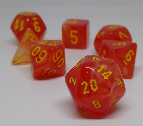Chessex 27523 Ghostly Glow: Orange/Yellow - Polyhedral (7 Dice)