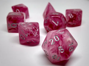 Chessex 27524 Ghostly Glow: Pink/Silver - Polyhedral (7 Dice)