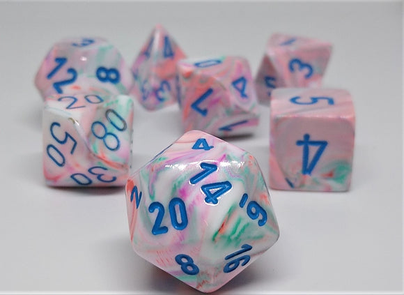 Chessex 27544 Festive: Pop Art/Blue - Polyhedral (7 Dice)