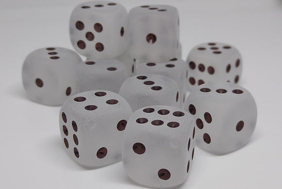 Chessex 27601 Frosted: Clear/Black - 16mm D6 (12 Dice)