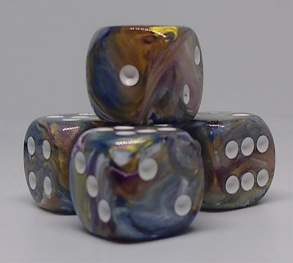 Chessex 27640 Festive: Carousel/White - 16mm D6 (12 Dice)