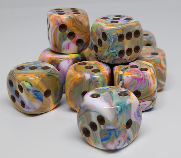 Chessex 27641 Festive: Vibrant/Brown - 16mm D6 (12 Dice)