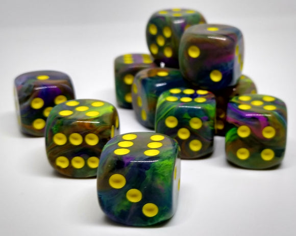 Chessex 27649 Festive: Rio/Yellow - 16mm D6 (12 Dice)