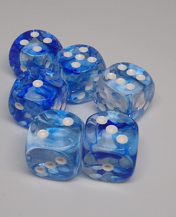 Chessex 27666 Nebula: Dark Blue/White - 16mm D6 (12 Dice)
