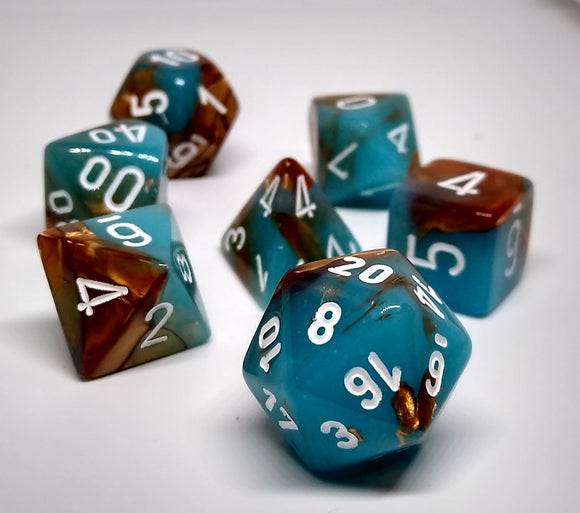 Chessex 30019 Festive: Copper Turquoise/White - Polyhedral (7 Dice)