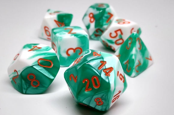 Chessex 30020 Gemini: Mint Green White/Orange - Polyhedral (7 Dice)