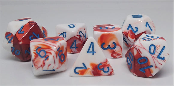 Chessex 30022 Gemini: Red-White/Blue - Polyhedral (7 Dice)
