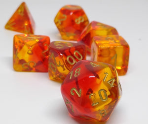 Chessex 30024 Gemini: Translucent Red-Yellow/Gold - Polyhedral (7 Dice)