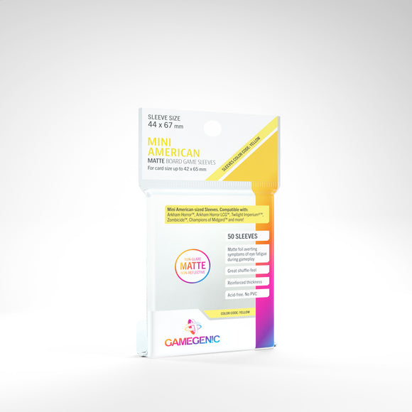 Clear Matte Sleeves: Mini American Matte(44 x 67 mm) (Color Code: Yellow)