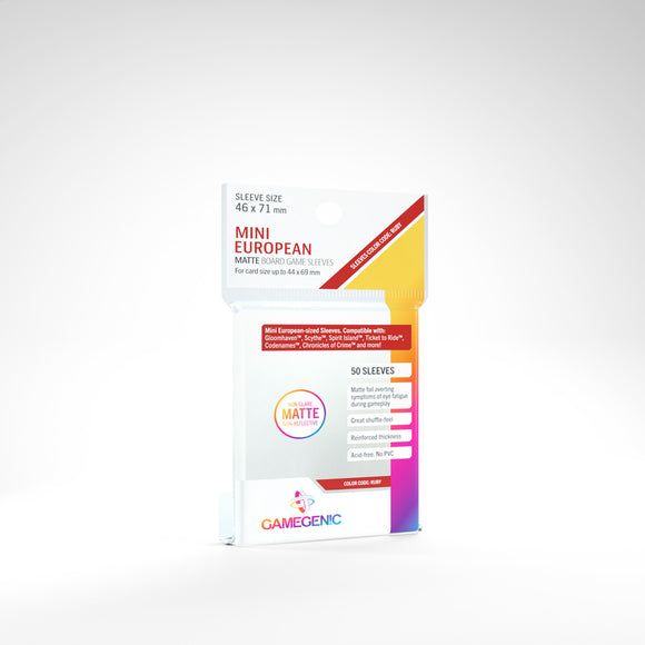 Clear Matte Sleeves: Mini European (46 x 71 mm) (Color Code: Ruby)