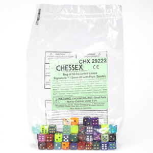 Chessex 29222 - Bag of 50 Assorted Loose Signature 12mm Dice