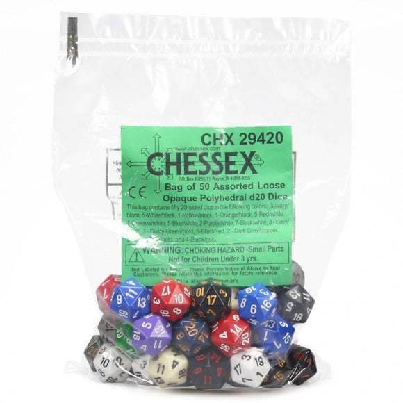 Chessex 29420 - Bag of 50 Assorted Loose Opaque D20 Dice