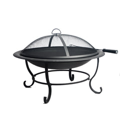 Round Steel BBQ Grill Fire Pit Bowl for Backyard