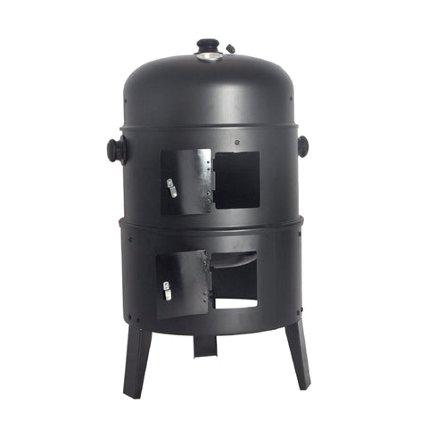 Black 3 In 1 Patio Charcoal BBQ Grill Smoker