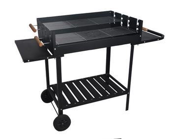 Height Adjustable Big Charcoal BBQ Grill Trolley