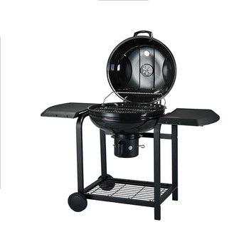 Kettle Charcoal BBQ Grill with Side Table Wheels