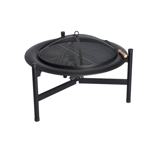 Foldable Round Wood Burning BBQ Grill Fire Pit