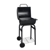 Barrel Charcoal BBQ Grill With Wheels & Chimney