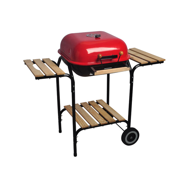 Wooden Side Table Trolley Square Barbecue Grill