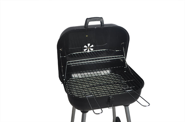 Vertical Square Charcoal BBQ Grill with Wheels
