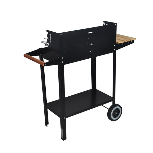 Wooden Side Table Trolley Charcoal BBQ Grill