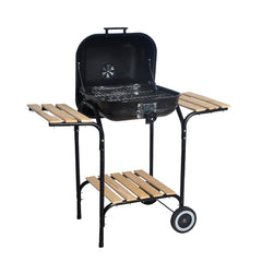 Backyard Grill Charcoal BBQ with Wood Side Table